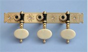 D110: Baker style engraved brass side plates, reverse gearing, synthetic ivory oval buttons